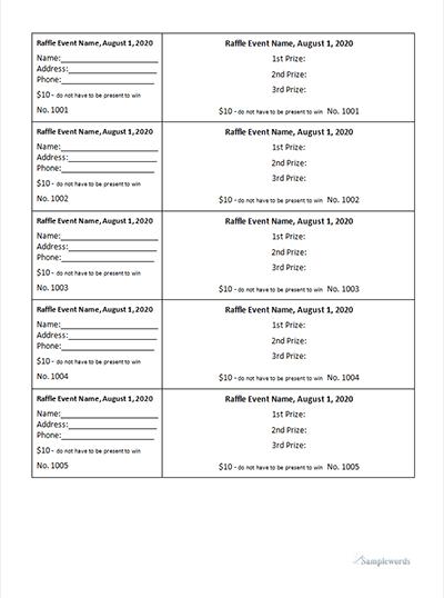 Raffle Ticket Template Editable And Printable Microsoft Word