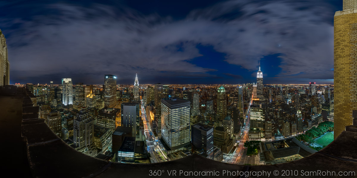 Manhattan Skyline Night 360 176 Panorama Sam Rohn 360