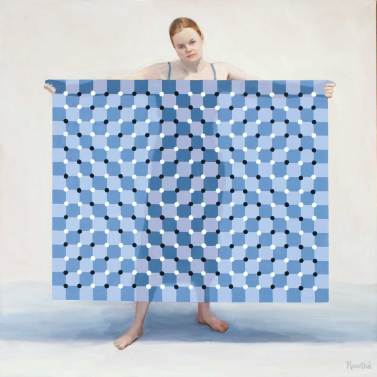 Folding the Op-Art Blanket, 48 X48, Sold