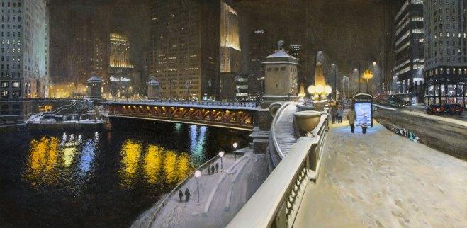 Michigan Avenue Bridge (Snowing at Night in Chicago), 54 X 108