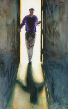 Self Portrait in Doorway, Watercolor and Gouache on Paper, 60 X 36, Sold