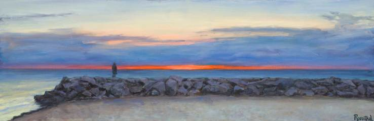 Sunrise Beach (Jackie on the Rocks), 20 X 52
