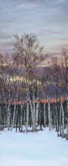 Sunset on Birches, 72 X 30