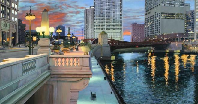 Sunset at Wells & Wacker, 64 X 120, Sold