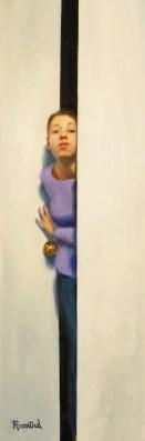 Girl looking through an open door