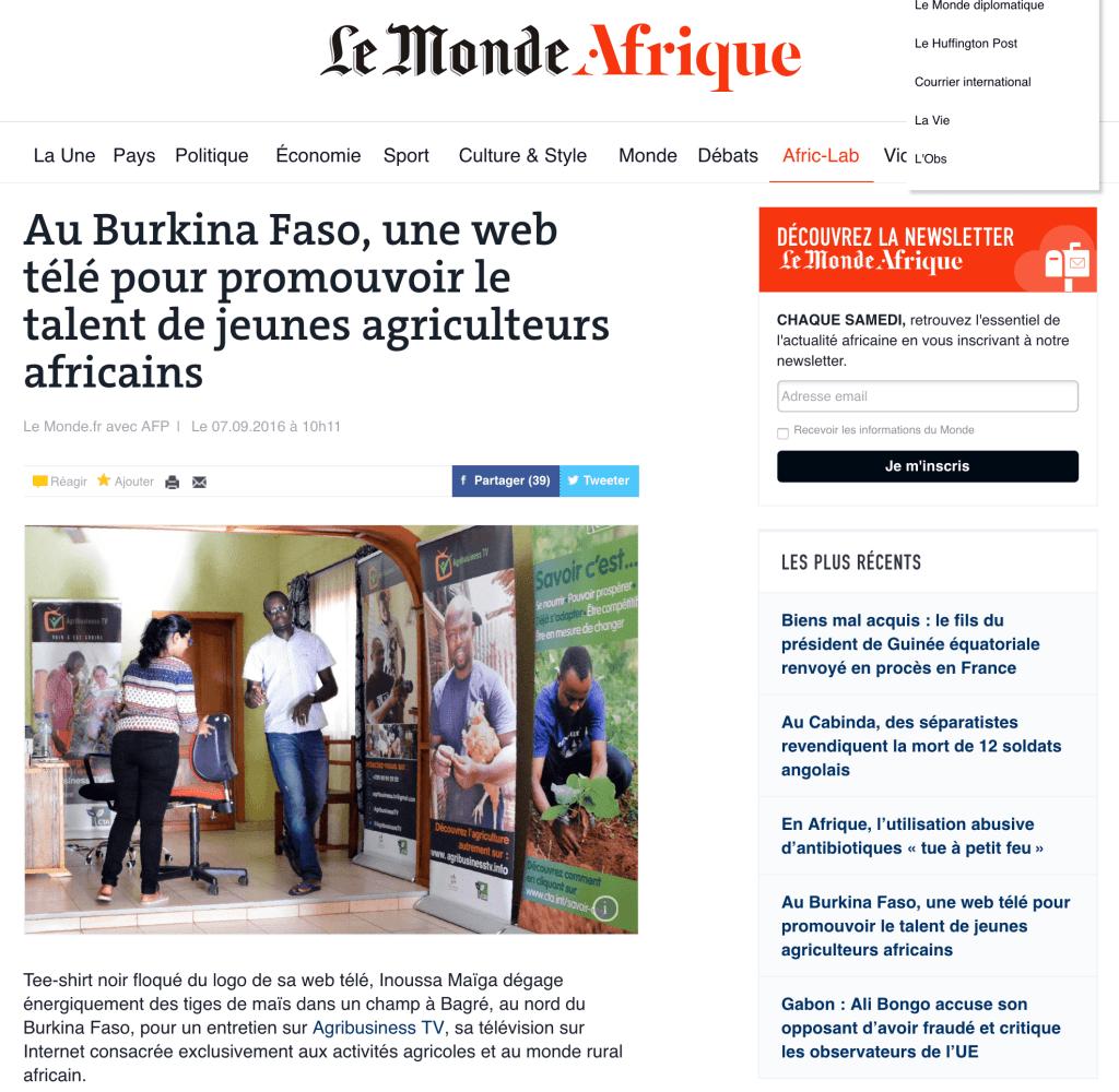 Au Burkina Faso  une web télé pour promouvoir le talent de jeunes agriculteurs africains