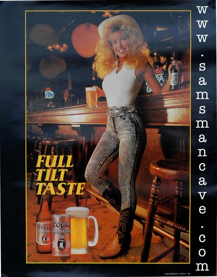coors extra gold full tilt taste beer poster