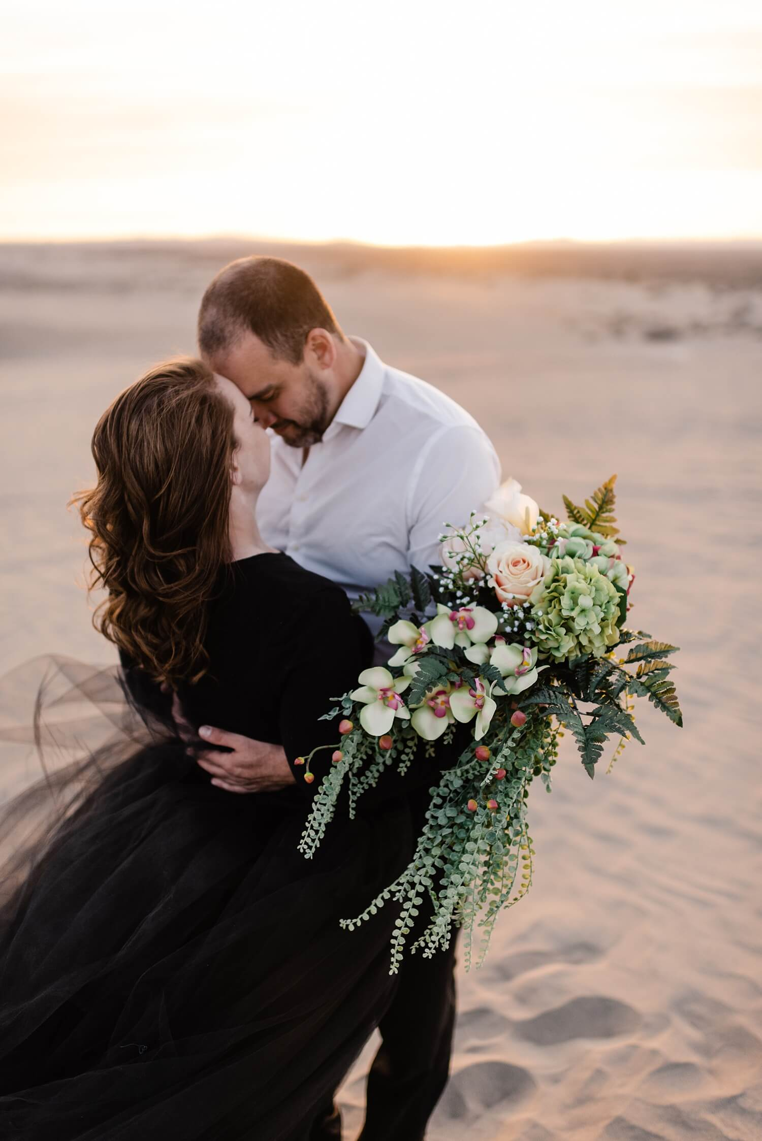 Christmas Valley Sand Dunes, Adventure Elopement Photography, Oregon, Pacific Northwest, Desert elopement, black wedding dress