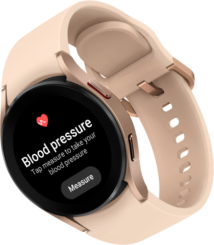 A Galaxy Watch4 device in pink gold color attached with a pink band is shown. On the watch face, the menu for Blood Pressure and ECG measurement features are displayed.