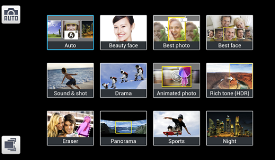 Galaxy Camera Shooting Modes