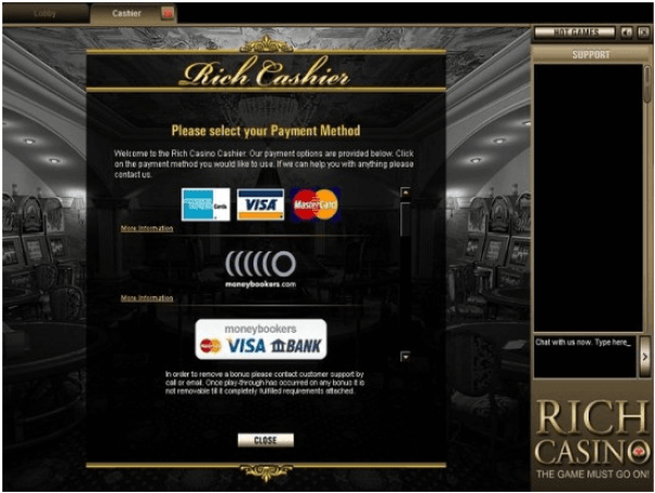 Rich Casino samsung app- Banking options