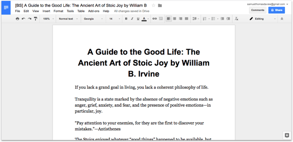A Guide to The Good Life in Google Docs Formatted