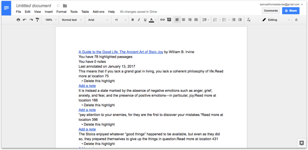 A Guide to The Good Life in Google Docs Unformatted