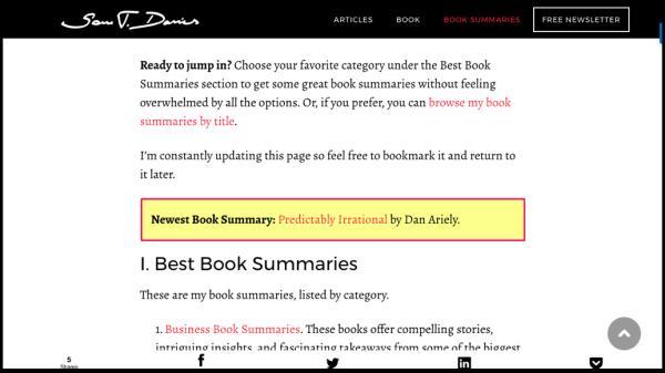 Sam Thomas Davies Book Summaries Page