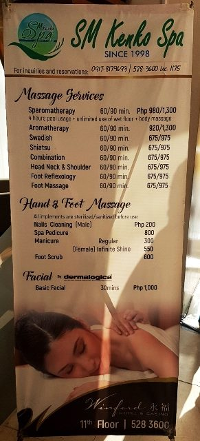 SM Kenko Spa at Winford Hotel Manila - Price list