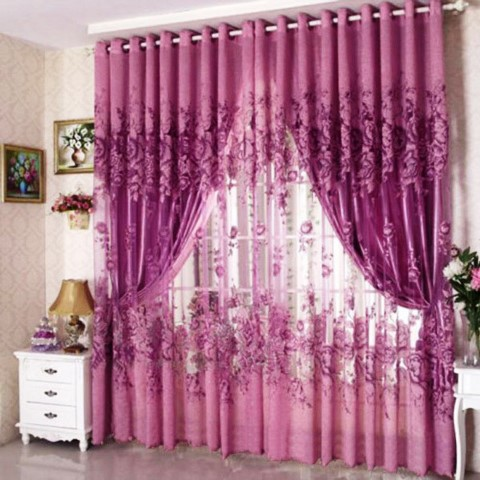 Peony Pattern Voile Curtain Window Curtains Purple