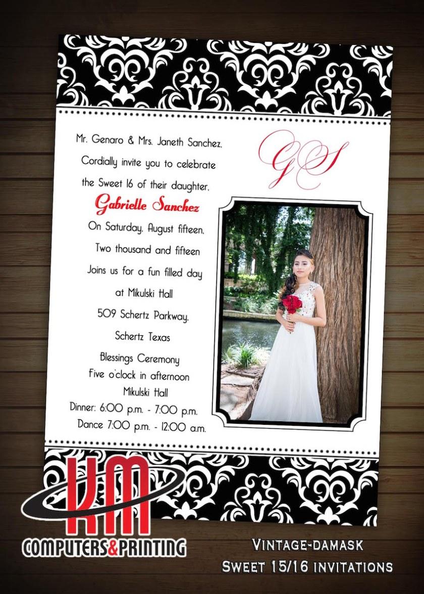 Km Print Quinceanera Invitations