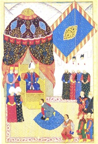 Ahmed Feridun Paşa'nın kaleme aldığı ve minyatürlerini Nakkaş Osman ve ekibinin nakşettiği (?), Sultan II.Selimdönemine ait olan ''Nüzhet (el-esrar) el-ahbar der sefer-i Zigetvar'' adlı eserde Kanuni' nin Erdel kralını huzuruna kabul ettiği sahneyi gösteren bir minyatür. Kanuni otağ-ı humâyûnunun önüne kurdurduğu tahtında oturmaktadır. Kanuni'nin otağı yukarıda bahsettiğimiz Orta Asya çadırının özelliklerini göstemektedir. Süslemeleri ise yer yer Orta Asya kökenli motifler, yer yer farklı etkiler ile Türk-İslâm sanatına girmiş motiflerden oluşmaktadır.