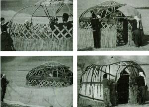 Bir Orta Asya çadırının (yurt), kuruluş aşamaları.