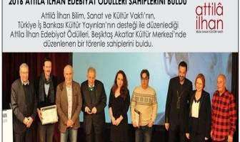 Attilâ İlhan Edebiyat Ödülleri Kazananları Belli Oldu