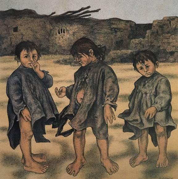 Resim 5: Neşet Günal, Çocuklar, tuval/yağlıboya, 27x27cm