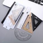 4 pcs/set Kawaii Lying Bear Plastic Straight Triangle Ruler Protractor Drafting Supply Set for School Art Examination Stationery