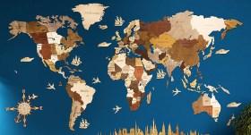 Nástenná drevená mapa sveta