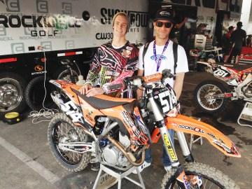 Brian Burns, left, and Rick Cadarette of SC Riders Supply pose behind Burns' bike. Courtesy photo