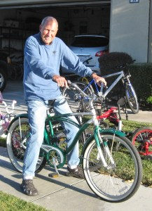 San Clemente's Don Glasgow poses with one of the 140 donated bicycles he collected to donate to El Nino, Mexico. Photo courtesy of Don Glasgow