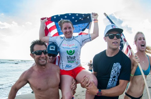 Emmy Merrill of  San Clemente celebrates her gold medal win Tuesday at the 2014 ISA World Stand-up Paddle and Paddleboard Championship in Nicaragua. Photo: ISA/Rommel Gonzales