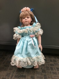Another one of the dolls left on a family's porch in Talega.