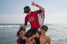 Griffin Colapinto, the Surfing America USA national Boys U18 champion, and Governor's Cup winner, is chaired up the beach Saturday by fellow San Clemente surfers, Kei Kobayashi, Kolohe Andino (now on the WSL World Tour) and Colton Ward after winning his title. Photo: Surfing America/Jack McDaniel