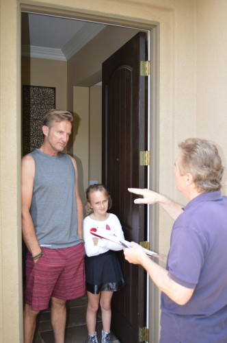 (L to R) Talega residents Mark Wulff and his daughter, Paige, said they are already cutting back on water usage around their home by reducing outside watering. Photo: Courtesy of Johnathan Volzke