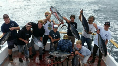 Anglers aboard a Dana Wharf Sportfishing and Whale Watching boat show off their catches. Photo: Courtesy