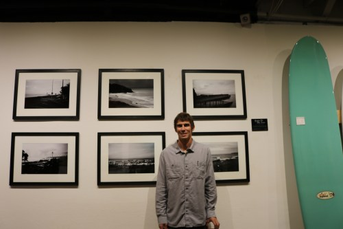 Artist Rusty Long showcases his work last Friday at Noll Surfboards & Gallery in San Clemente. Photo: Alison Shea