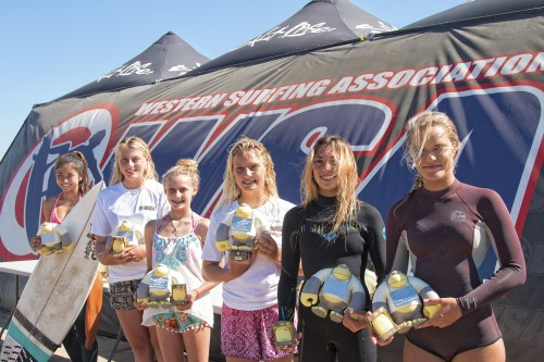 Girls 13-16 Shortboard finalists (L to R) 1. Chiasa Maruyama, 2. Joceline Marchand, 3. Emma Stone, 4. Coral McDuffee, 5. Hayden Rouse and 6. Kristina Hehl. Photo: Sheri Crummer