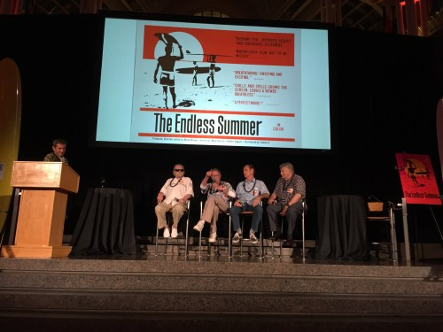 "A ""talk story"" session at the SHACC National Luau brought together (L to R) Robert 'Wingnut' Weaver, master of ceremonies; Bruce Brown, ""The Endless Summer"" director and narrator; Bob Bagley, cinematography; and Mike Hynson and Robert August, featured surfers. Photo: Denny Michael"
