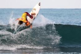 Kade Matson of San Clemente brought home a win in Boys U14 and a second-place finish in Boys U16 at Surfing America Prime event No. 2 Oct. 3 at Church Beach. He then went on to win the Boys 15U division at Seafest the next day. Photo: Jack McDaniel