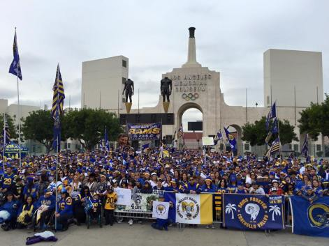 Hundreds of Los Angeles Rams fans gather outside of the Los Angeles Memorial Coliseum in support of the team's relocation to the area. Photo: Courtesy Bring Back the Los Angeles Rams Facebook