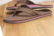 The red, white and blue sandal will be part of Rainbow Sandals' new signature line. Photo: Eric Heinz