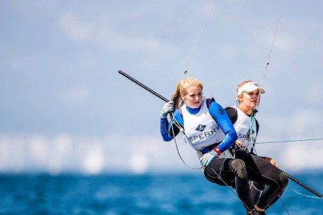Helena Scutt, left, and Paris Henken will compete in the 49erFX sailing class boat during the 2016 Olympic Games in Rio de Janeiro. Photo: Sailing Energy