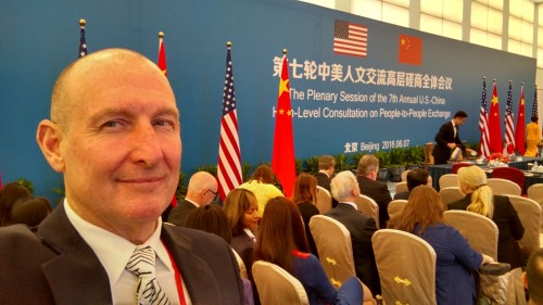 Glen Brumage visits with the Chinese