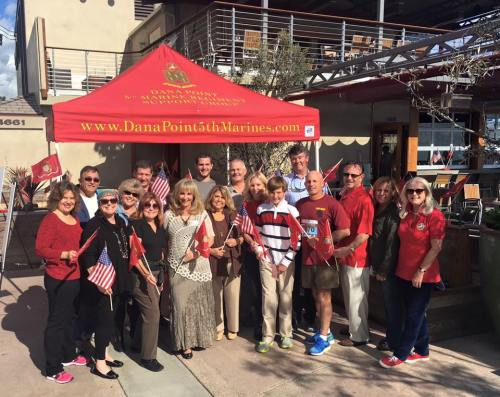 Members of the Dana Point 5th Marines Regiment Support Group before a Thanksgiving dinner at Waterman's Harbor restaurant during their 2015 event. Photo: Courtesy of Mark Montgomery from Montgomery Photography