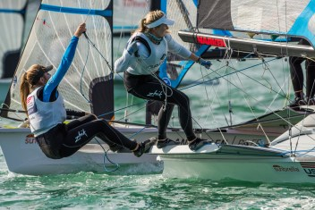 Paris Henken, left, and Helena Scutt represented the United States in the 49erFX sailing event at the 2016 Olympic Games in Rio. Photo: Courtesy