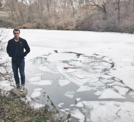 Bennett Jonas of San Clemente stands at the location where he and a friend helped pull seven juveniles out of freezing water after they fell in while trying to take a selfie on Monday, Feb. 20, at Central Park in New York City. Photo: Courtesy of Bennett Jonas