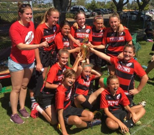 The newly formed San Clemente Triton Youth Rugby Club's girls U12 team won the Torrey Pines 7s Rugby Tournament on June 17. It was the first time the team played in a tournament. Photo: Courtesy