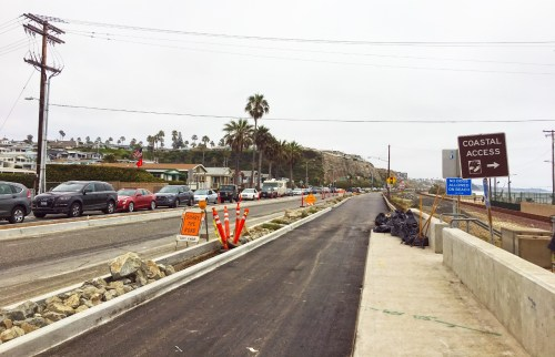 El Camino Real, seen here looking south at the Camino Capistrano intersection, will be closed from 8:30 p.m. Tuesday, June 27 to 5 a.m. Wednesday, June 28, from that point to Avenida Estacion in San Clemente. Photo: Jasmine Smith