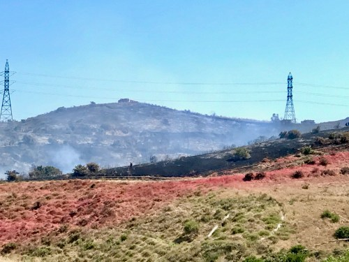 Twenty-five acres of grassland burned on Wednesday, July 5, just south of San Clemente. Airplanes dropped water and fire suppression materials. Photo: Rachel Wilford