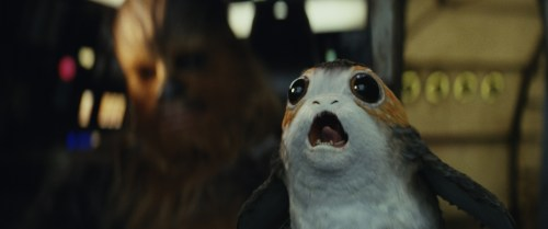 Chewbacca with a Porg. Photo: Copyright 2017 Lucasfilm Ltd.