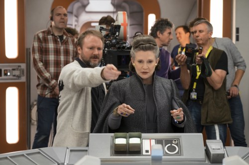 Director Rian Johnson with Carrie Fisher (Leia) on set during the filming of 'Star Wars: The Last Jedi.' Photo: David James/Copyright 2017 Lucasfilm Ltd.